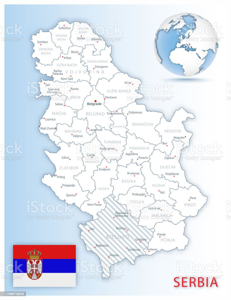 Picture of: Detailed Serbia Administrative Map With Country Flag And Location On A Blue Globe Stock Illustration Download Image Now Istock
