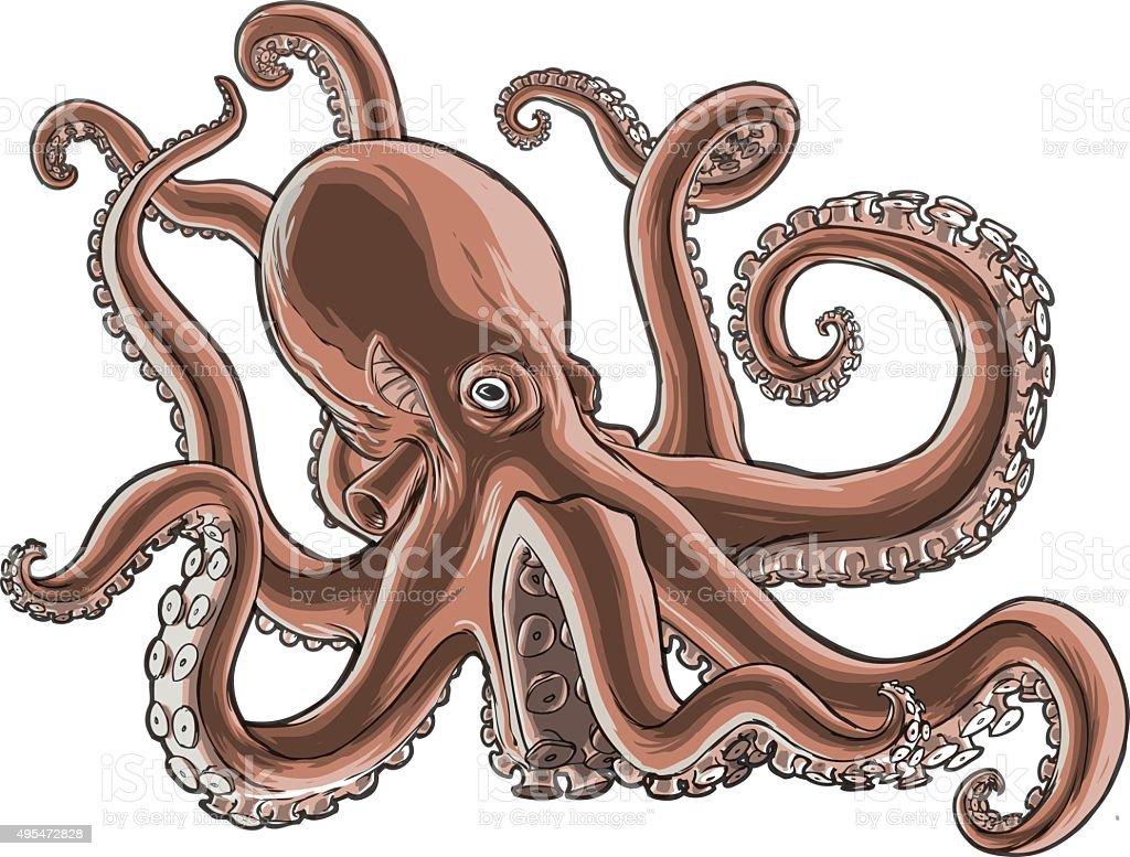 Detailed shaded vector illustration of an octopus. vector art illustration