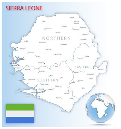 Detailed Sierra Leone administrative map with country flag and location on a blue globe.