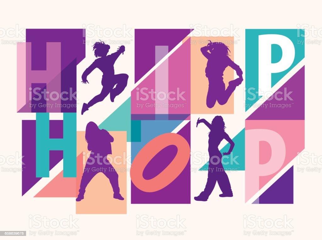 Detailed silhouettes of girls dancing among hip hop lettering vector art illustration
