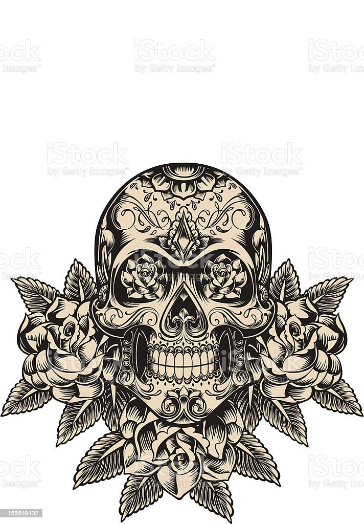 Detailed skull illustration vector art illustration