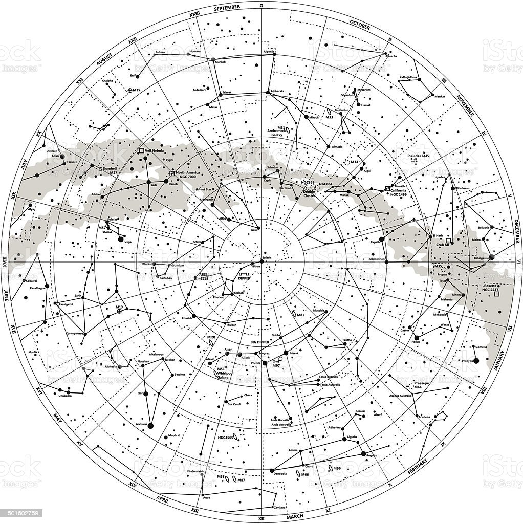 Detailed Sky Map Northern Hemisphere With Names Of Stars Stock