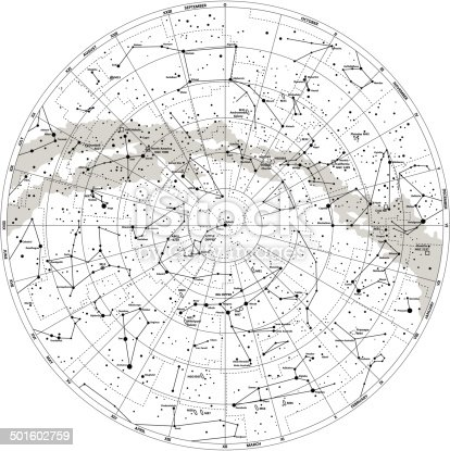 Detailed Sky Map Northern Hemisphere With Names Of Stars