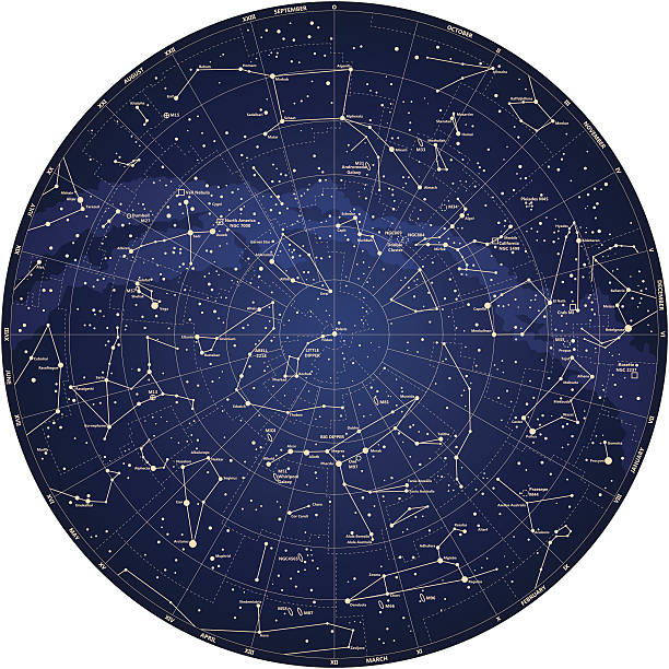 ilustrações de stock, clip art, desenhos animados e ícones de detalhada mapa hemisfério norte com nomes das estrelas vetor - constelação