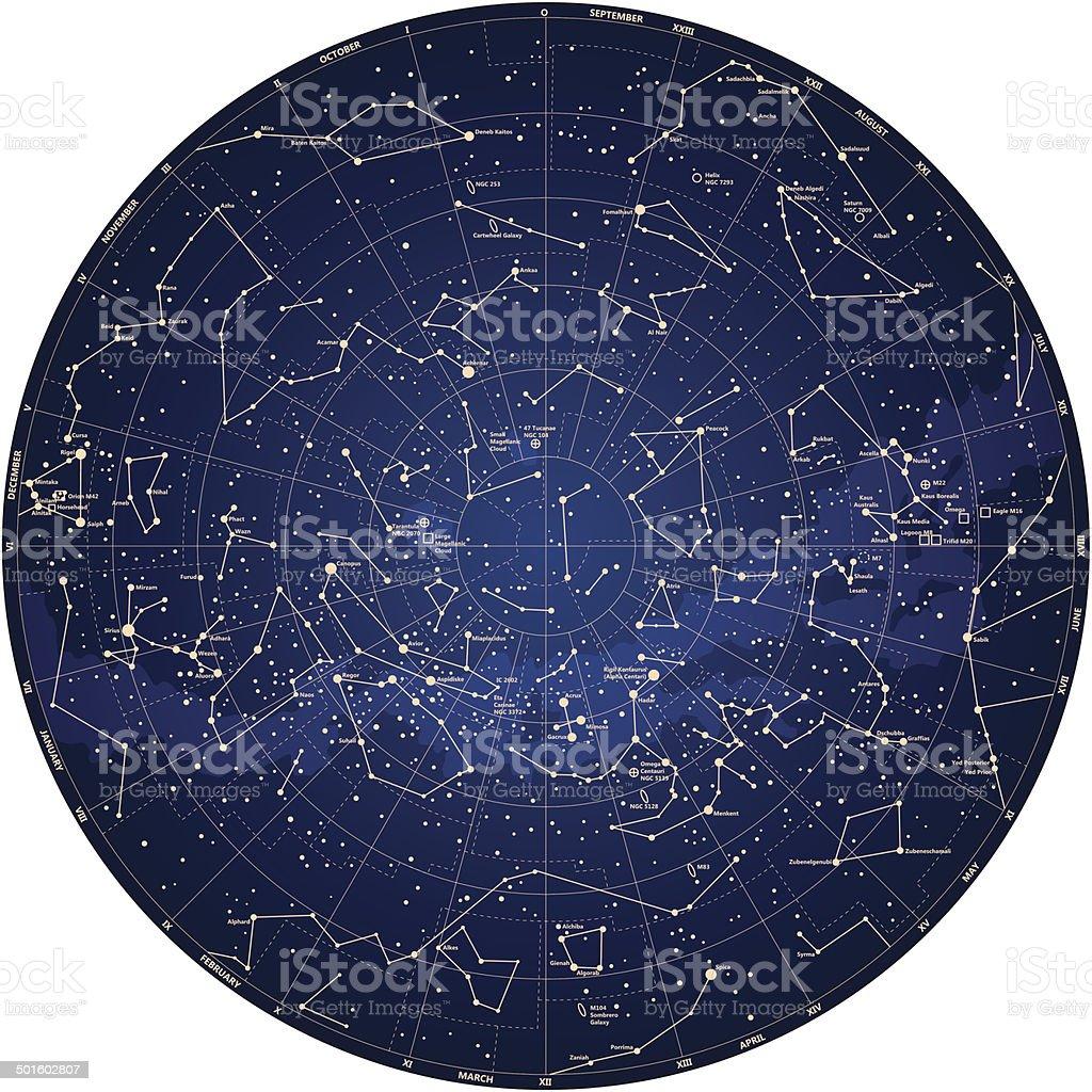 sky mapa detalhado do hemisfério sul, com nomes de estrelas - ilustração de arte em vetor