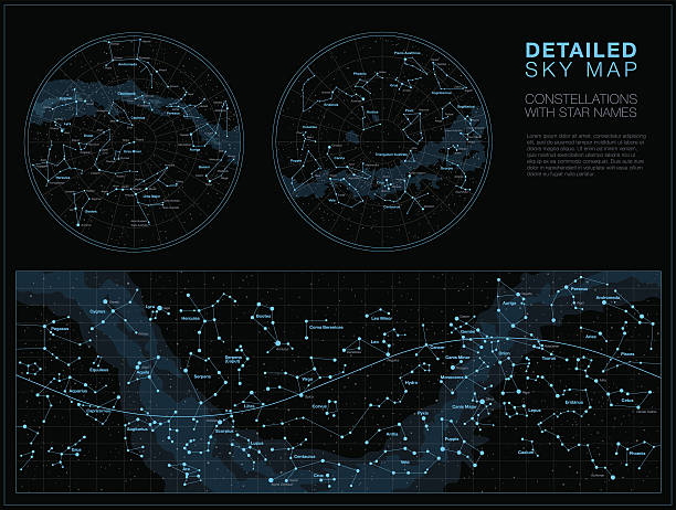 detailed sky maps vector set - astronomy telescope stock illustrations