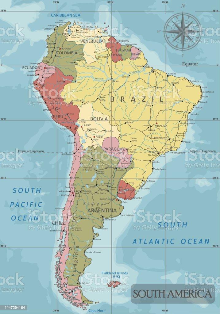 Mapa Político De Sudamérica.Ilustracion De Mapa Politico De Sudamerica Detallado En