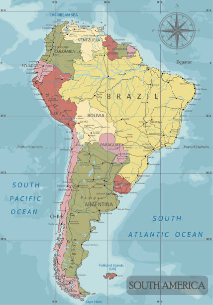 Detailed South America Political map in Mercator projection. Detailed South America Political map in Mercator projection. Clearly labeled. Separated layers. south america stock illustrations