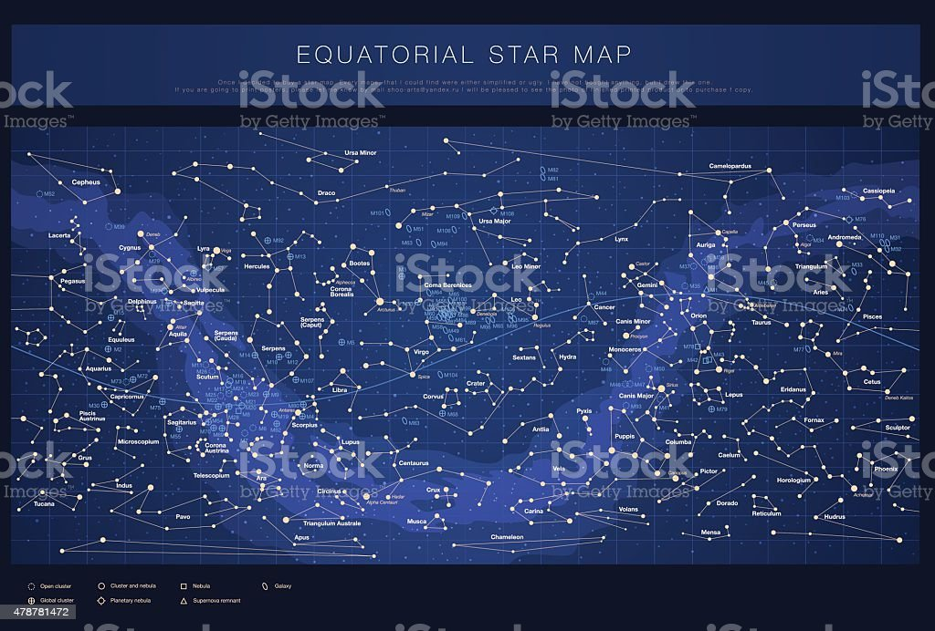 detailed star map with stars, contellations and Messier objects, vector vector art illustration