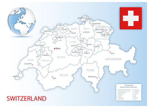 Detailed Switzerland administrative map with country flag and location on a blue globe.