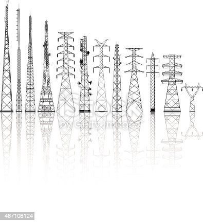 Telecommunications towers.