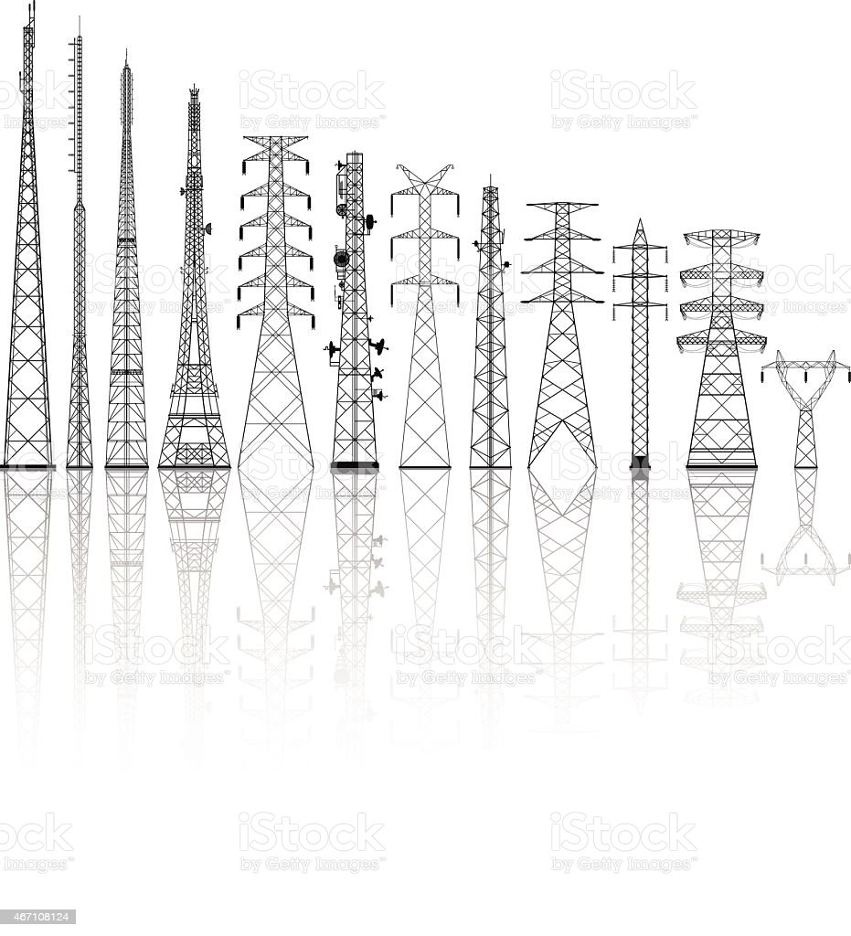 Detailed Telecommunications Towers vector art illustration