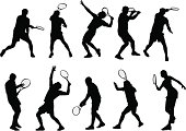 Detailed tennis players - black silhouettes.