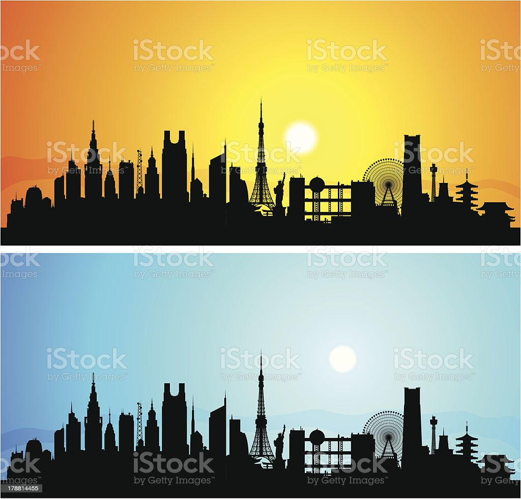 Detailed Tokyo (Each Building is Moveable and Complete) vector art illustration