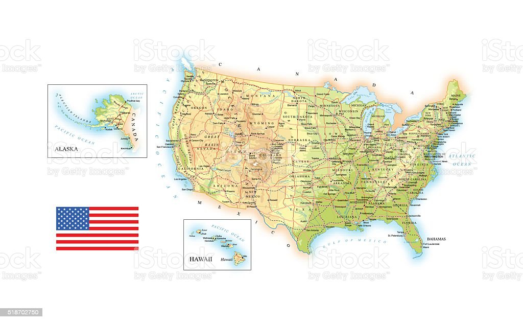 USA - detailed topographic map - illustration vector art illustration