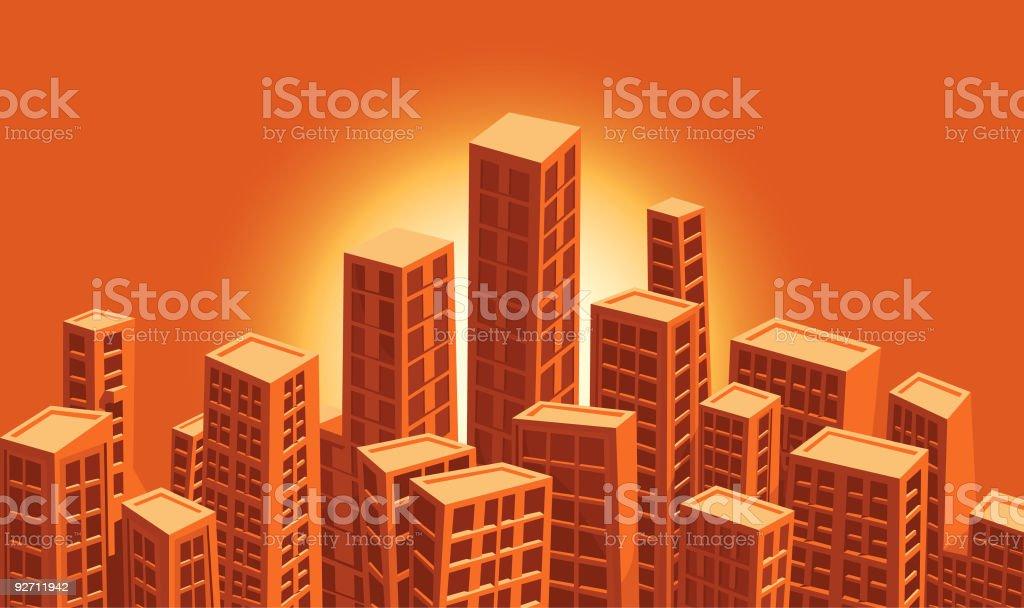 detailed vector city - sunset vector art illustration