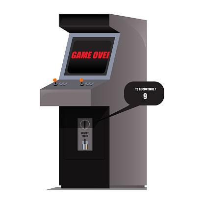 Detailed vector illustration of arcade machines with retro coin or token slot panel facades from coin or token operated machines