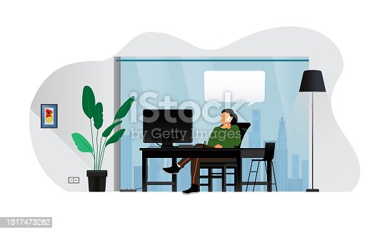 istock Detailed vector illustration of business office background,The girl sitting in front of the computer talking on the phone 1317473282