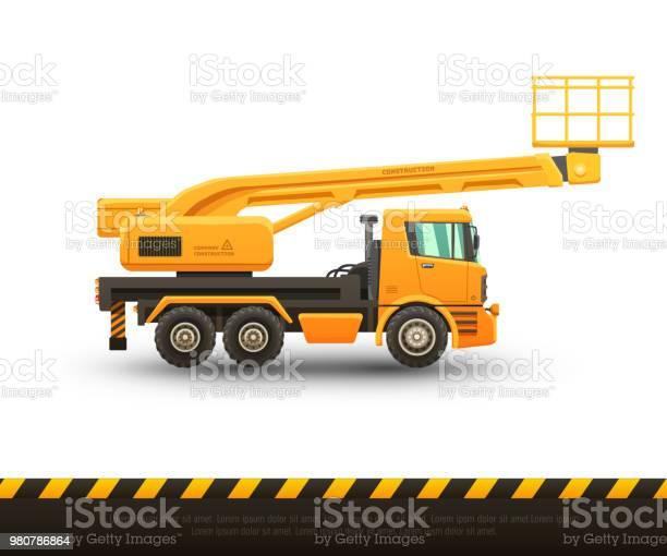 Detailed vector illustration of lift truck. Isolated illustration on white background.