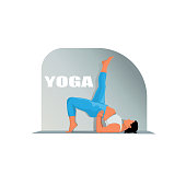 istock Detailed vector illustration of woman practicing yoga against white background depicting healthy lifestyle 1314040850