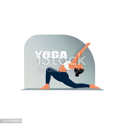istock Detailed vector illustration of woman practicing yoga against white background depicting healthy lifestyle 1314040920