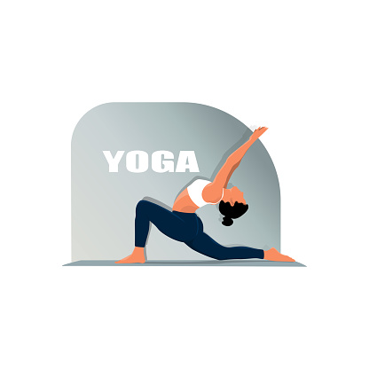Detailed vector illustration of woman practicing yoga against white background depicting healthy lifestyle