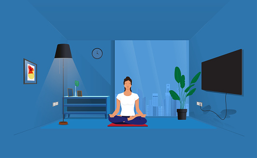 Detailed vector illustration of woman practicing yoga depicting healthy lifestyle,Woman meditating in yoga asana Padmasana cross legged position for meditation with Chin Mudra isolated on white background,