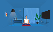istock Detailed vector illustration of woman practicing yoga depicting healthy lifestyle,Woman meditating in yoga asana Padmasana cross legged position for meditation with Chin Mudra isolated on white background, 1320678065
