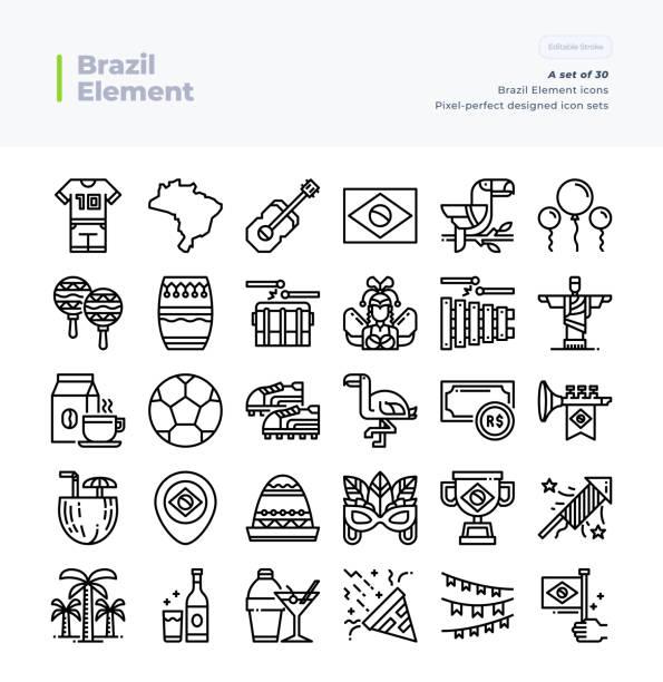 ilustrações, clipart, desenhos animados e ícones de linha detalhada ícones do vetor ajustados do curso perfeito e editable do pixel element. 64x64 do brasil. - brazil