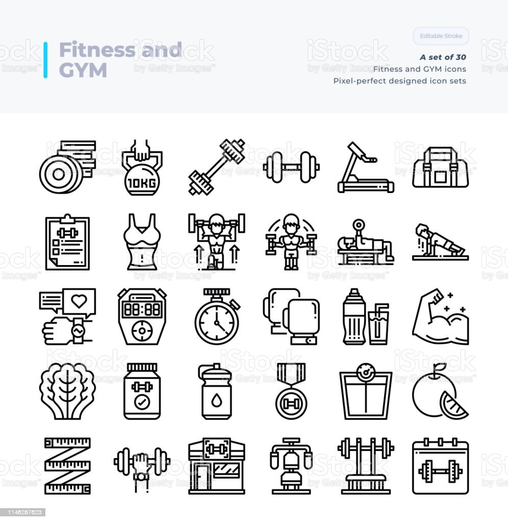 Detailed Vector Line Icons Set Of Fitness And Gym 64x64
