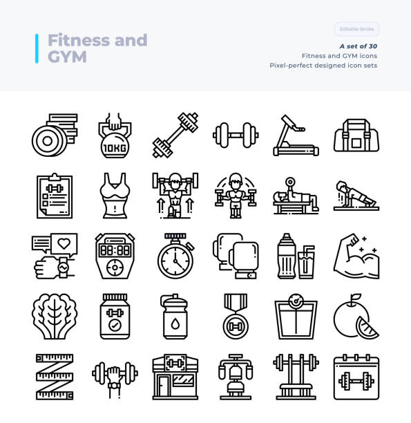 Detailed Vector Line Icons Set of Fitness and Gym .64x64 Pixel Perfect and Editable Stroke. vector art illustration