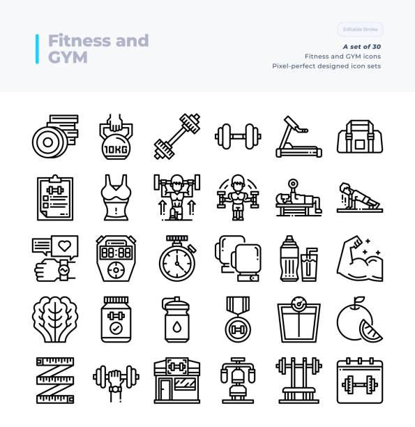 ilustrações, clipart, desenhos animados e ícones de ícones detalhados da linha do vetor ajustados da aptidão e da ginástica. 64x64 pixel curso perfeito e editável. - personal trainer