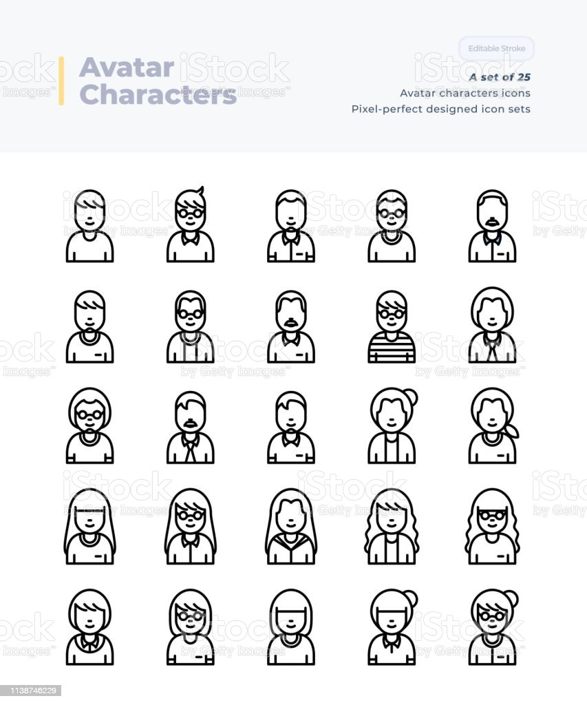 Detailed Vector Line Icons Set Of Poeple And Avatar 64x64