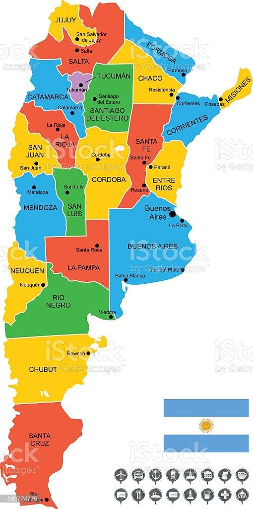 Detallado Vector De Mapa De Argentina Illustracion Libre De - Argentina mapa