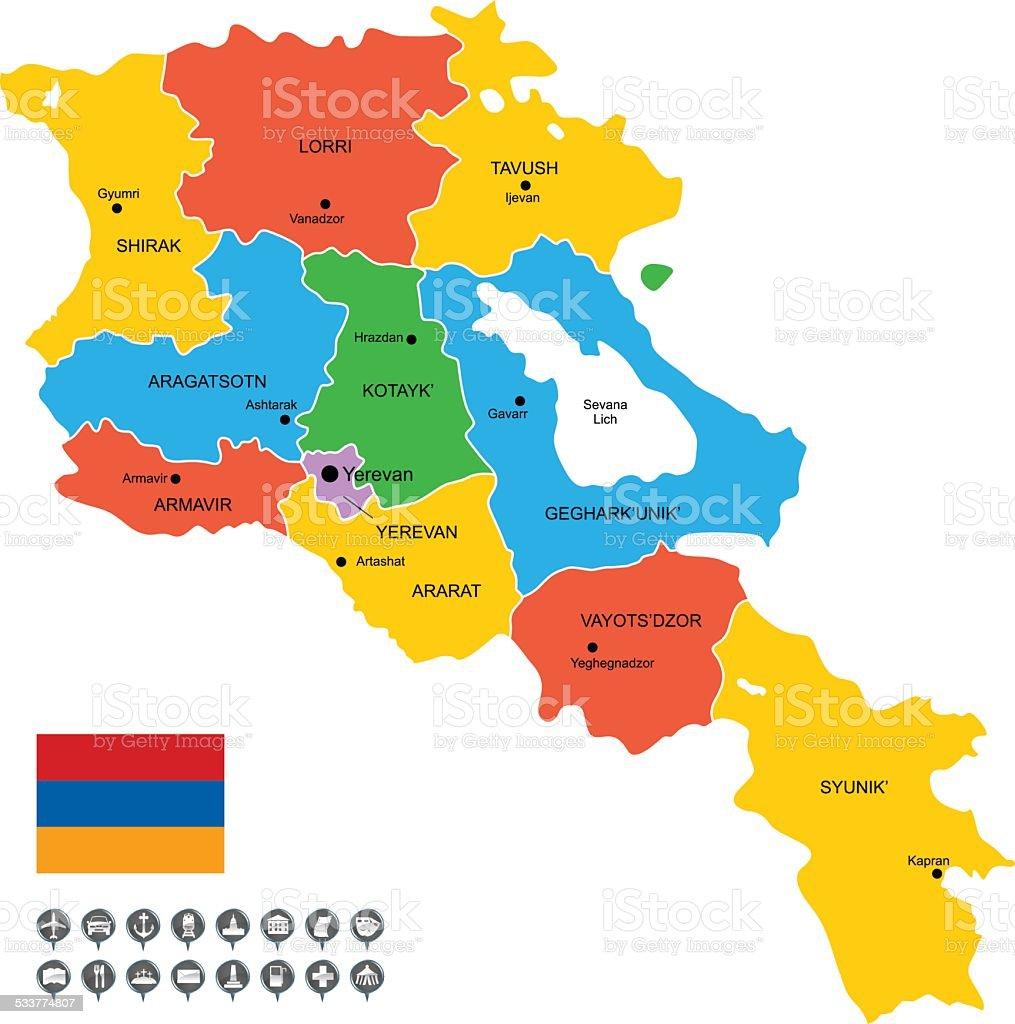 Szczegółowe Wektor Mapa Armenia - Stockowe grafiki wektorowe i więcej obrazów 2015 - iStock