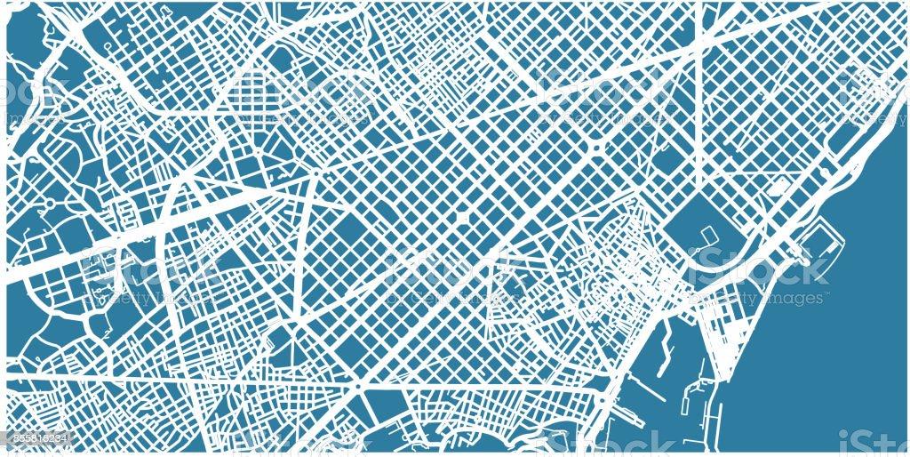 Mapa detallado vector de Barcelona, escala 1:30 000, España - ilustración de arte vectorial