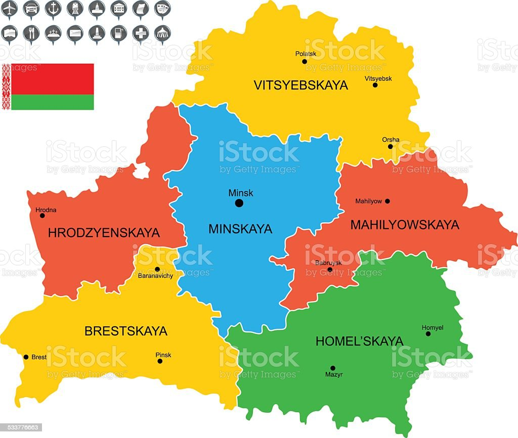 Detailed Vector Map of Belarus vector art illustration