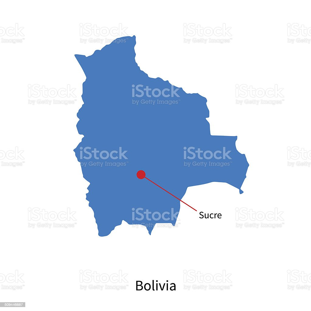 Detailed Vector Map Of Bolivia And Capital City Sucre Stock Vector