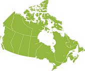 Detail map of Canada with provincial borders in white.