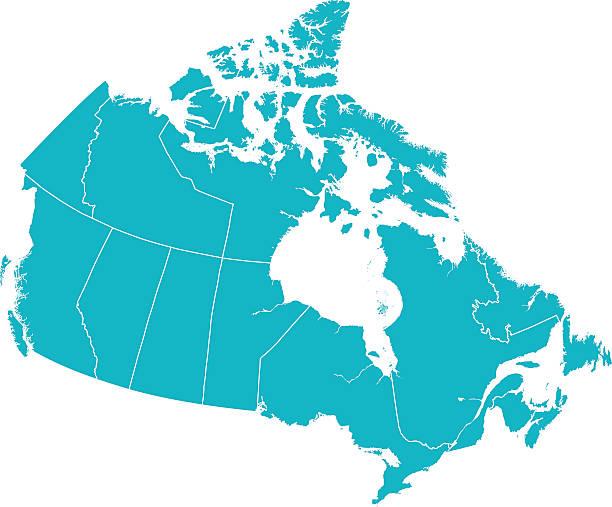 szczegółowe wektor mapa kanada z provincial ramki na biało. - kanada stock illustrations