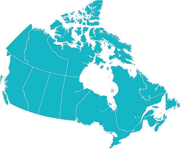 Detailed Vector Map of Canada with Provincial Borders in White. Detailed Vector map of Canada with provincial borders in white. Vector 2D Flat Map illustration Of Canada.    The lines on the map divide and represent each province.  This map is done as a silhouette to easily see the province border divide lines. canada stock illustrations