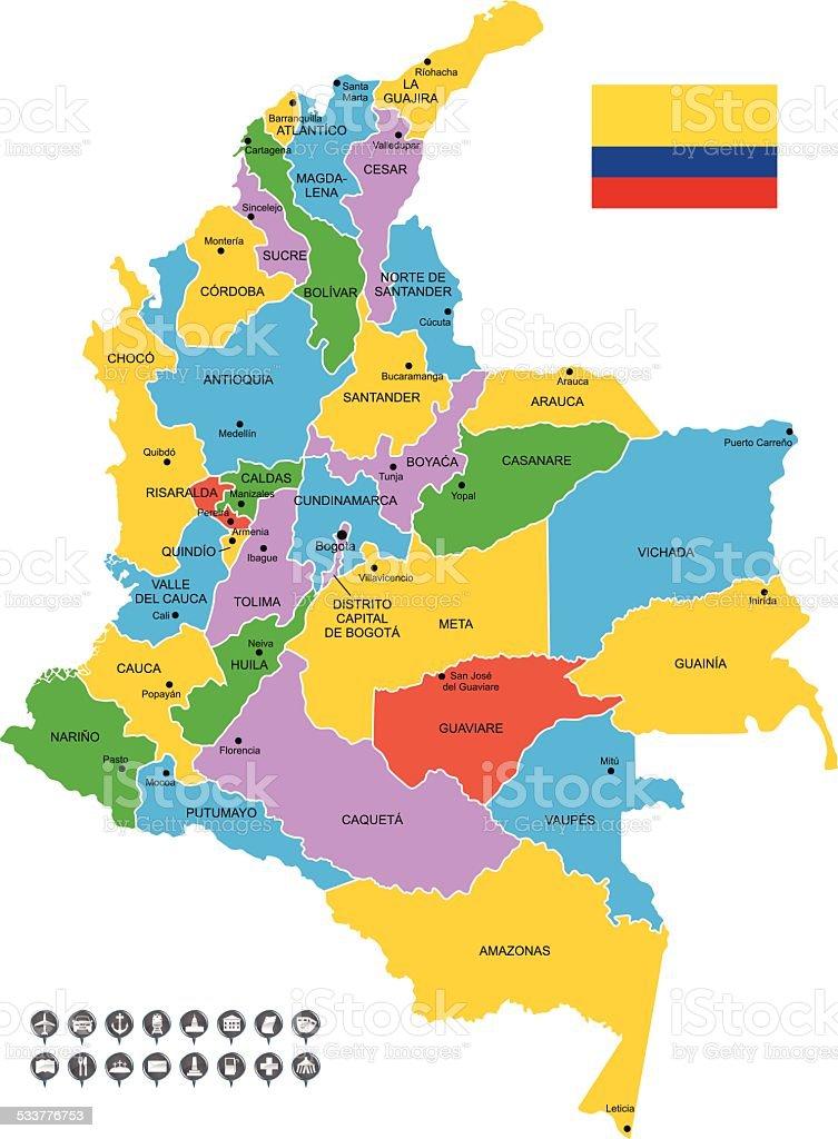 Detallado Vector De Mapa De Colombia Arte vectorial de stock y ms