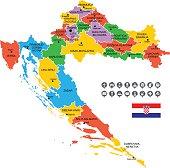 Detailed Vector Map of Croatia.