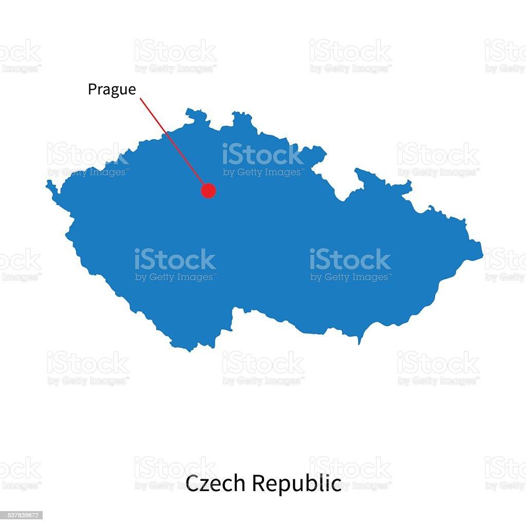 Prag Karte Tschechien.Detaillierte Vektorkarte Der Tschechischen Republik Und Der