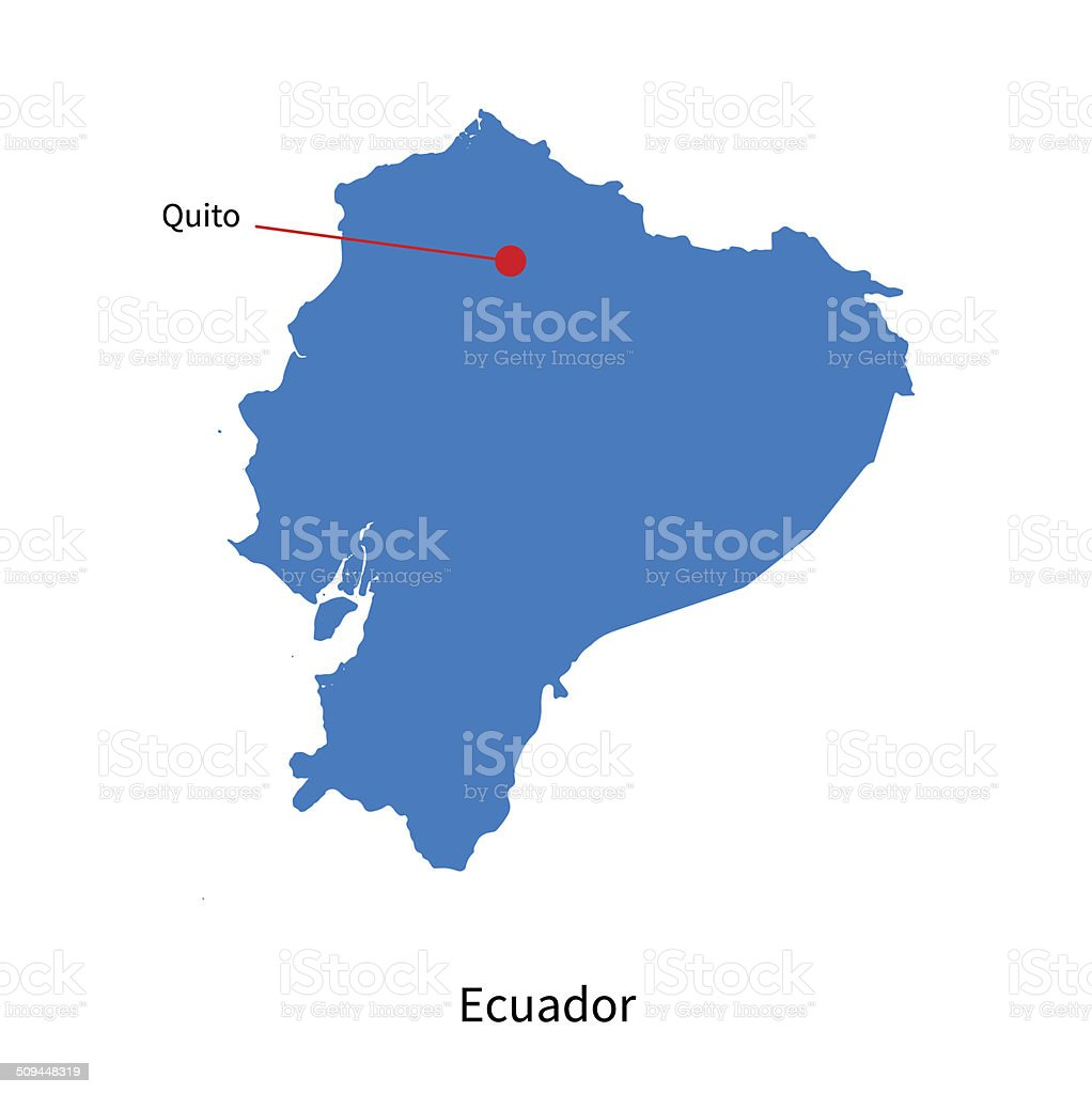 Detailed Vector Map Of Ecuador And Capital City Quito Stock Vector - Capital of ecuador