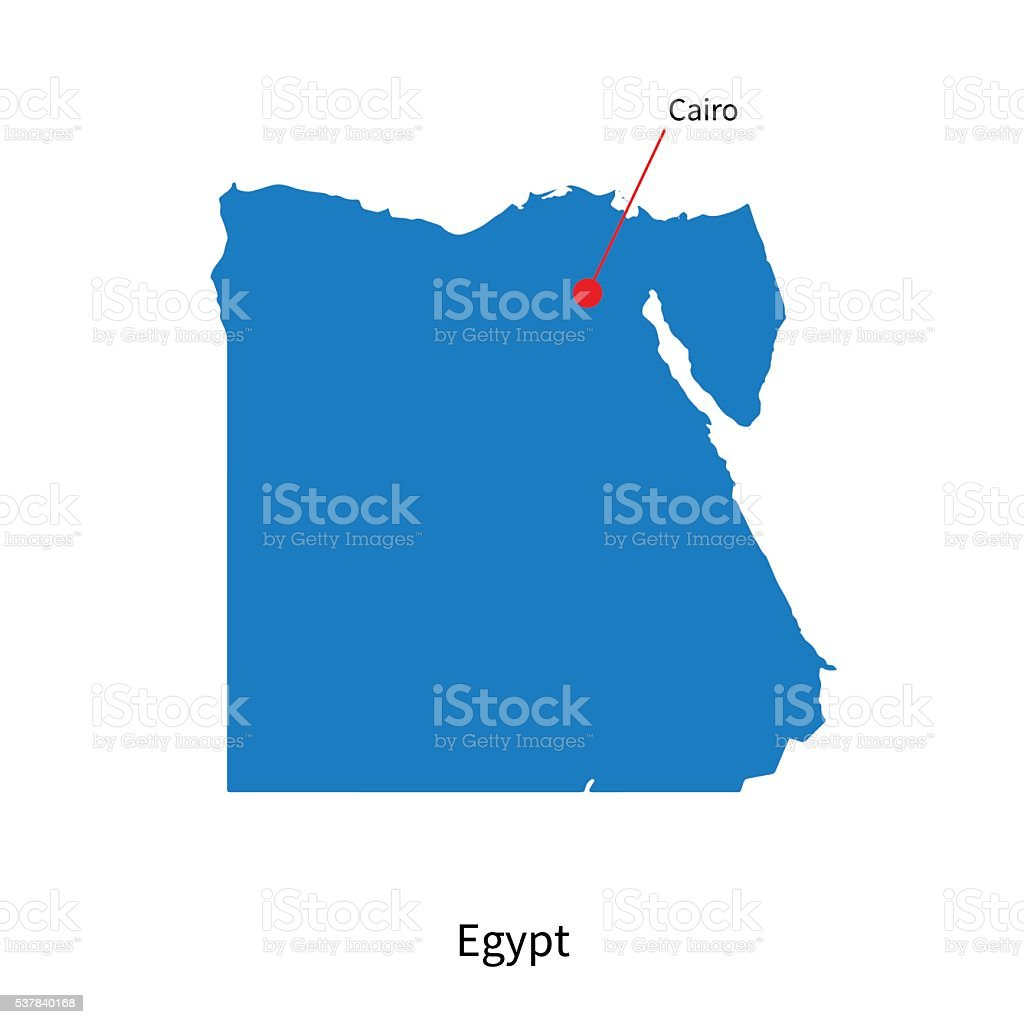 Detailed Vector Map Of Egypt And Capital City Cairo Stock Vector Art