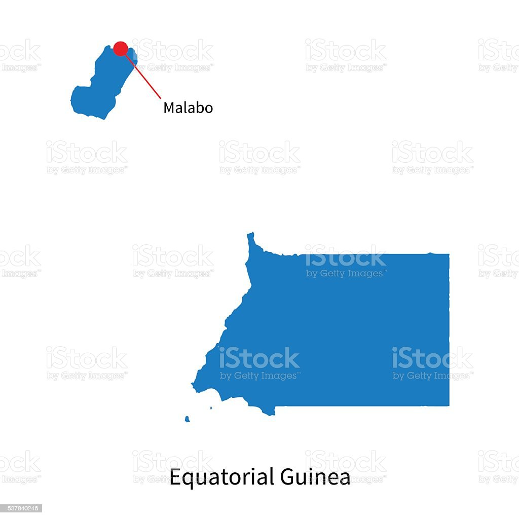 Detailed Vector Map Of Equatorial Guinea And Capital City Malabo