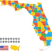 Detailed Vector Map of Florida with pointers.