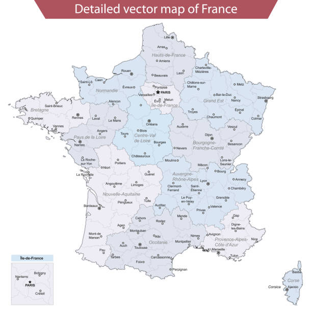 illustrations, cliparts, dessins animés et icônes de carte vectorielle détaillée de la france - carte de france