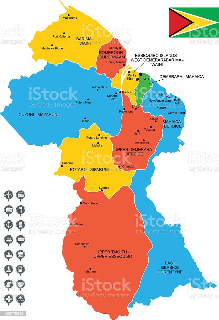Detailed Vector Map Of Guyana Stock Vector Art & More Images of 2015 ...